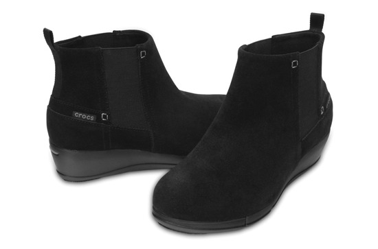 WOMEN'S SHOES  CROCS STRETCH SOLE WEDGE BLACK 200881